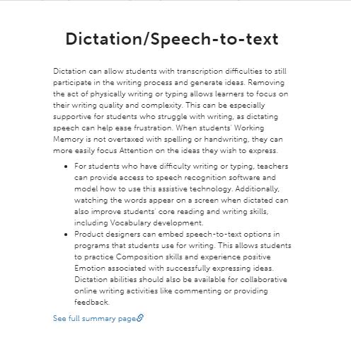 Dictation summary